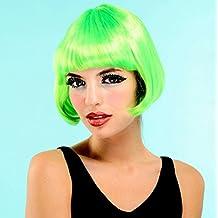peluca media melena verde
