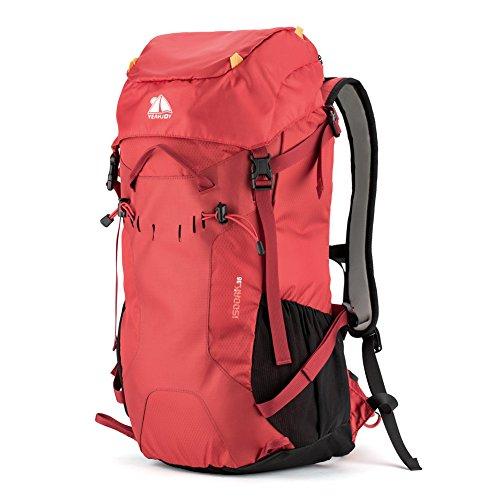 yeahjoy 35L Wandern Rucksack Wasserdicht Rucksackreisen-Tasche Outdoor Sport Daypack für Klettern Bergsteigen Camping Angeln Reisen Radfahren Rot