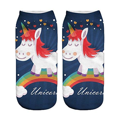 Socken Frauen/Mädchen Einhorn Cartoon Tiere Boot Knöchel (g)