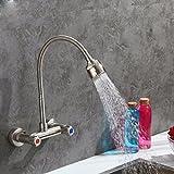 MulFaucet wasserhahn armatur hahn Wasserleitung Faucet Doppel-Doppel-Loch in der Küche 304 Edelstahl heiß und kalt Schüssel Doppelschalter Spüle Wäsche Pool A