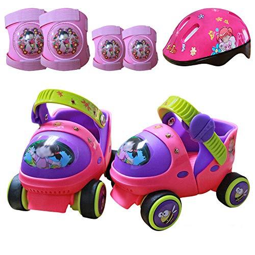 WANG-L Rollerblades Skate Vierrad Rollschuhe Kinder Anfänger Zweireihig Einstellbar Für 2~6 Jahre Alt Baby Kinder Jungen Mädchen Geburtstagsgeschenk,Pink-Set3-(20-30) Code (Pink Mädchen Code)