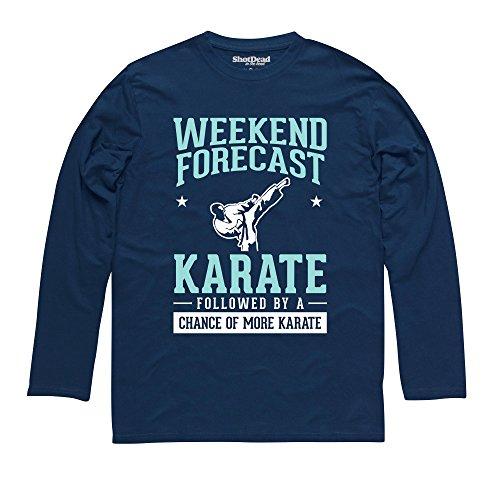 Weekend Forecast Karate Langarmshirt Funny Novelty Gift, Herren Dunkelblau