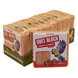 Suet To Go Wild Bird Peanut and Cherry Suet Block, 300 g - Pack of 10