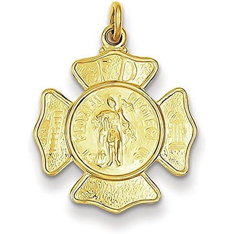 Argento placcato oro 24ct Saint Florian Firemans Badge Pendant