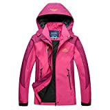 Guiran Herren/Damen Softshell Jacke Outdoor Funktionsjacke Kapuzenjacke Klettern Freizeitjacke Sportjacke Arbeitsjacke Rose 2XL