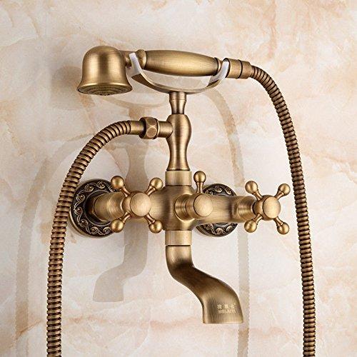 ANNTYE Waschtischarmatur Bad Mischbatterie Badarmatur Waschbecken Antike Regendusche Set Messing Warmes und kaltes Wasser Handheld Düse Badezimmer Waschtischmischer
