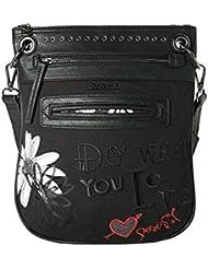 Desigual Damen Handtaschen BOLS BANDOLERA BLACK DAISY REP 65X52F9 / 2000 neue Kollektion 2016