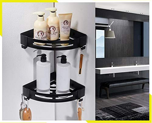 Bathroom corner basket corner rack shelf wall-mounted brushed 304 stainless steel storage, bathroom kitchen balcony debris rack easy to assemble, double-layer (Steel Edge Razor Stainless Double)