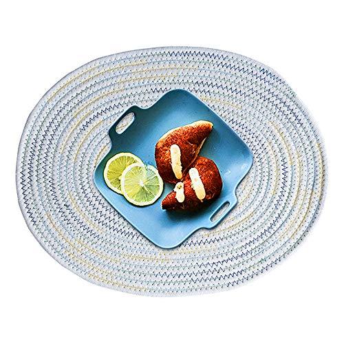 Kitchen-dream Ovale Tischset Waschbare Handgewebte Tischset Baumwolle Platzsets Untersetzer Abwaschbar Hitzebeständig und rutschfest für Home-Küche Esstisch Outdoor