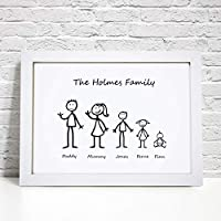 Personalised Stick Family Print - A5, A4 Prints & Framed
