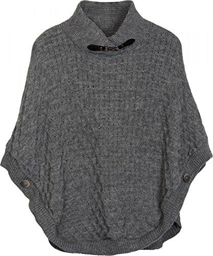 styleBREAKER poncho in maglia con abbondante motivo in maglia, chiusura metallica sul colletto e bottoni sulle maniche, collo alto, scollo a V, donna 08010044 Grigio scuro