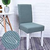 Monba Fundas Impermeables para sillas de Comedor, elásticas, extraíbles, Lavables, Protector para Silla de Comedor, poliéster, Verde Claro, Pack de 4