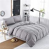 DOTBUY Bettbezug Set, 3 Stück Super Weiche und Angenehme Mikrofaser Einfache Bettwäsche Set Gemütlich Enthalten Bettbezug & Kissenbezug Betten Schlafzimmer (200x200cm, Grau)
