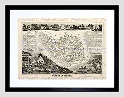 MAP OLD FRANCE LEVASSEUR VENDEE DEPARTMENT BLACK FRAMED ART PRINT