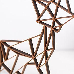 KLEINLAUT 3D-Origamis aus Holz - Wähle Ein Motiv & Farbe - Fuchs - 10 x 8,5 cm (S) - Kupfer