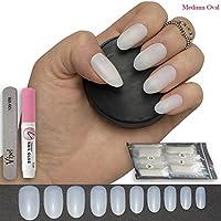 600 piezas Oval clavos 10 tamaños – falso uñas Consejos corto Medium completo cover Opaque Natural