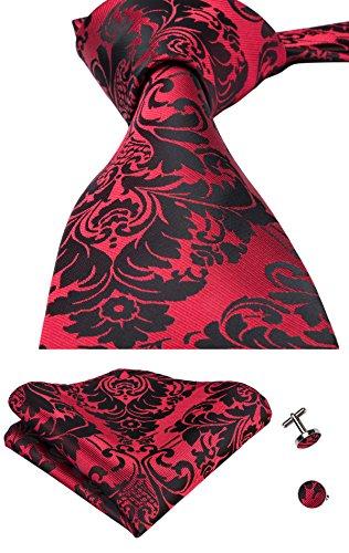Mens Red Floral Woven Seide Tie Taschentuch Manschettenknöpfe Set