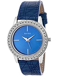 Matrix Blue Dial & Blue Leather Strap Analog Watch with Stone Studded Work For Women's/Girls- (WN-21)