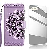THRION Coque iPhone 5, Motif de Demi-Fleurs Housse en Cuir Premium Flip Case...