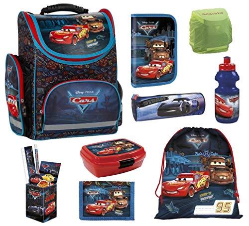 Familando Disney Cars Schulranzen-Set 9-TLG. mit Dose/Flasche Federmappe, Sportbeutel und Regenschutz TEMCA45 blau