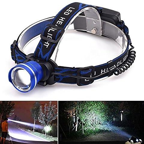 2000 Lm CREE XM-L T6 Lampe frontale à LED 3 Modes d'éclairage Lampe de poche à focale réglable Alimentation à piles Résistant à l'eau pour camping, pêche, randonnée et chasse M571