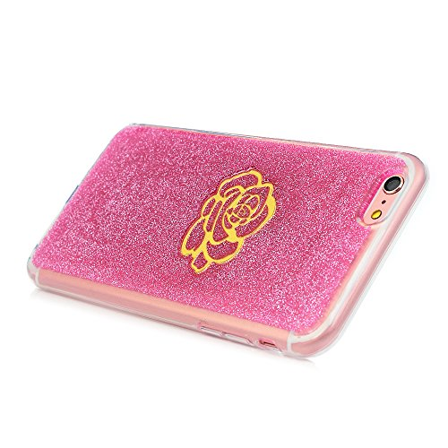 Cover per iPhone 6 Plus Silicone e Bling Glitter Brillanti, iPhone 6S Plus Custodia Morbida TPU Flessibile Gomma - MAXFE.CO Case Ultra Sottile Cassa Protettiva per iPhone 6 Plus / 6S Plus - Acchiappas Fiore Oro