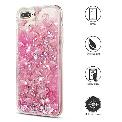 Cover iPhone 7 plus Custodia iPhone 7 plus Silicone Quicksand Anfire Morbido Flessibile Trasparente Gel TPU Case per Apple iPhone 7 plus (5.5 Pollici) Sabbie Mobili Cover Rosa Bling Glitter Cristallo  Crane