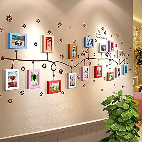 Cadre mural HJKY Ensemble mural Cadre en bois massif Cadre créatif Mur mural Cadre photo Mur Cadre Corridor Bureau Étagère Photo Mur, 16 Frame Flower Vine 6