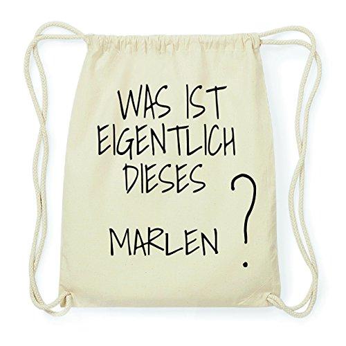 JOllify Marlen Hipster Turnbeutel Tasche Rucksack aus Baumwolle - Farbe: Natur - Design: was ist eigentlich - Farbe: Natur