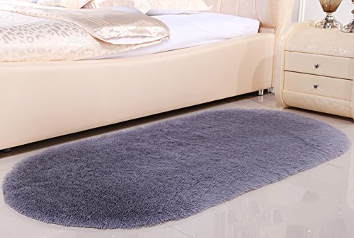 Europäischen Stil Oval Teppich Bett Schlafzimmer Nachtdecke Gepflastert Schöne Wohnzimmer Couchtisch Matten Solid Color Teppich (Farbe : Metallic, größe : 160cm*230cm) -