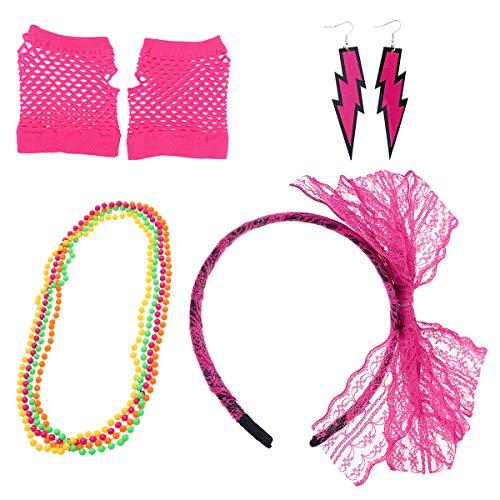 Toyvian 80er Jahre Neonhalsketten Netzhandschuhe Spitze Bogen Stirnband Ohrringe 1980er Jahre Kostüm Zubehör Party Kostüm für Mädchen Frauen Rosy