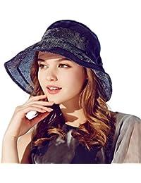 387f1ae5facd8 Kenmont Summer Women Wide Brim Silk Folding Vacation Beach Sun Bucket Hat  (Navy Blue)