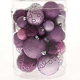 WeRChristmas bruchsichere Plastik-Christbaumkugeln, 50 Stück Purple/Pink/Silver