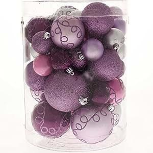 WeRChristmas - Set di decorazioni natalizie, con 50 palline in plastica infrangibile viola / rosa / argento