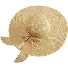 JERKKY Mujeres Vacaciones de Verano Sombrero de Paja Sombrero para el Sol  Dulce Sólido Color Caramelo 22bb08d5784