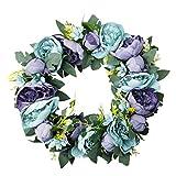 A-szcxtop Classic guirnalda de flores hecha a mano puerta de pared Corona de flores de seda Artificial para el hogar Boda Decoración.