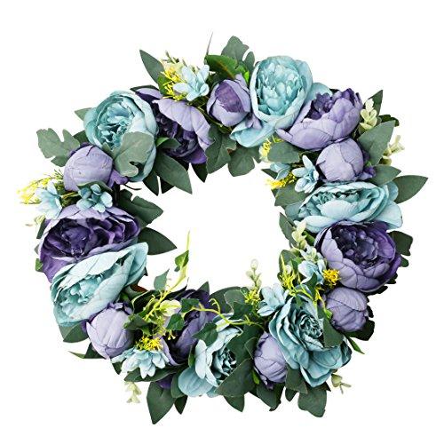 A-szcxtop Classic Girlande Flower handgefertigt Künstliche Floral Seide Wreath vorne für Home Wand Tür Hochzeit Decor.