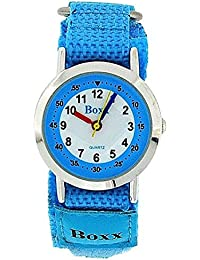 Boxx Kids Analogue Sky Blue & White Dial & Two Tone Blue Easy Fasten Kids Watch