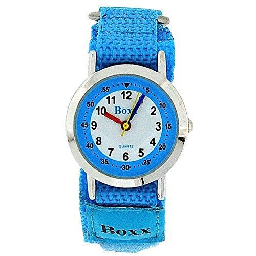 BOXX KIDS Analoge Armbanduhr himmelblau mit weißem Ziffernblatt und zweifarbigem Klettarmband