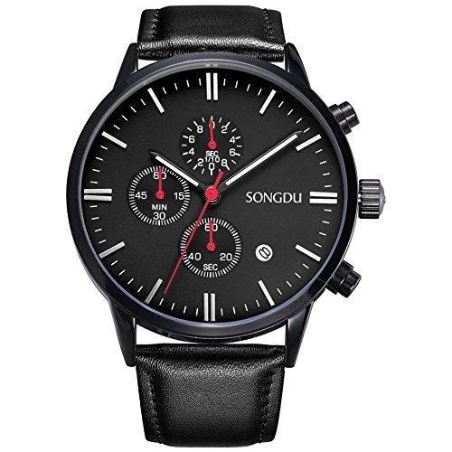 Songdu Unisexe Montre chronographe à Quartz à Cadran analogique avec Date et boîtier en Acier Inoxydable Bracelet milanais et Bracelet en Cuir Noir (Noir-Cuir)