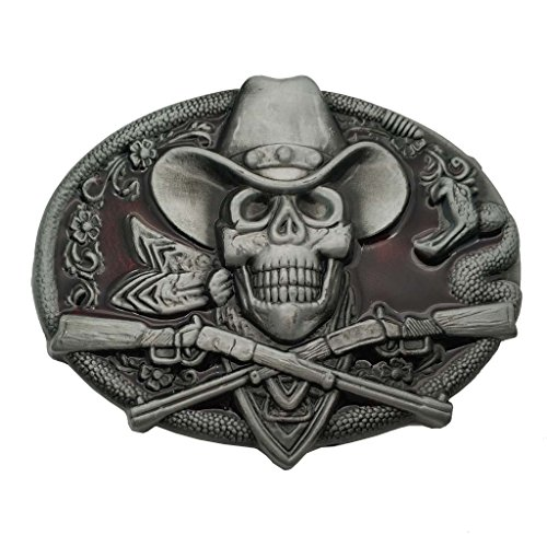 YONE Hebilla western cowboy skull pirate rifles Buckle rojo