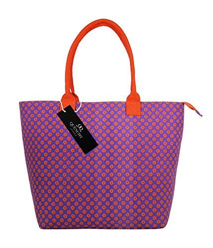 Borse per la spesa in tela,borse ideali per la spiaggia, borsa a tracolla per vacanza, stile shopping, 17stampa floreale per estate, design grazioso, a pois, da parete fiore, tinta unita, colore: bl Purple Wallflower
