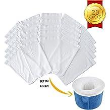 Calcetín de Filtro de Piscina, Filtro de Tela de Nylon Elástico Durable de Piscinas, Blanco (20 Piezas)