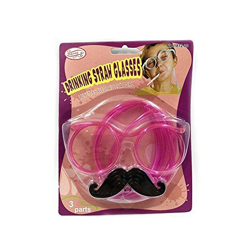 Carry stone Premium Quality Party Supplies DIY Runde Trinkhalm Brillen Strohrohr Set mit Schnurrbart Crazy Funky Brille Neuheit Witz Spaß Kinder Party