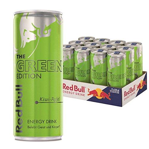 Red Bull Energy Drink Green Edition mit Kiwi - Apfel Geschmack, 12er Pack (12 x 250 ml)