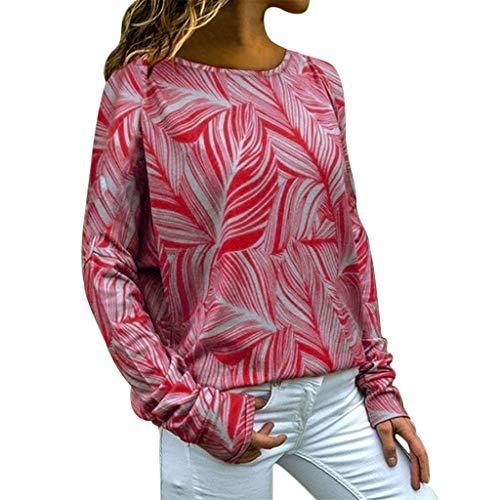 Tohole Sexy Oberteil Damen Elegant Langarmshirt Bluse Damen Herbst Choker T-Shirt V-Ausschnitt Tops Einfarbig Einfache Lange Ärmel(rot,S) -