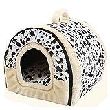 Gfone 2 in 1 Haustier Haus und Sofa Faltbare Hundebett Indoor Hund Zimmer Hundehütte Katzenhöhle Katzenhaus Warm Hund Katze Hündchen Kaninchen Haustier Nest Höhle Bett Haus, Mehrfarbig