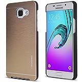 UKDANDANWEI Samsung Galaxy A3 (2016) Coque Étui - Aluminium Brossé Métal Coque Rigide Shell Housse pour Samsung Galaxy A3 (2016) Doré