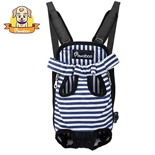 Pawaboo Rucksack für Haustier, Verstellbare Haustiertasche Beinen Out Hunde Rucksäcke, Tragbare Reisetasche Transporttasche für Hunde Katzen, XL, Blau und Weiß Streifen