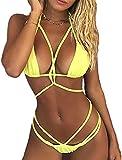 chicolife Bikini Damen Push Up, Damen Bandage Bikini Satz Push-up Gepolstert Halter Bandeau Einfarbig Badeanzug Baden Strand Badebekleidung